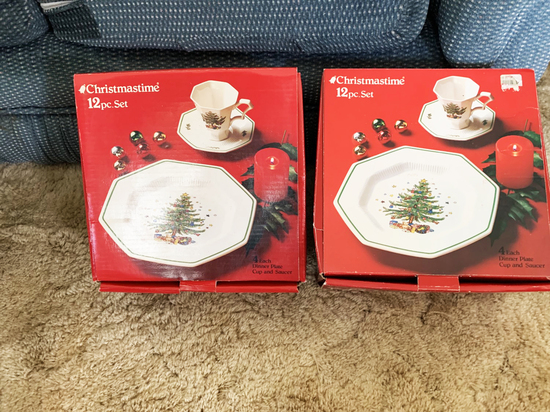 2 Nikko Christmas 12 piece Christmas China sets