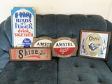 Group of 4 Beer Signs and Shine sign