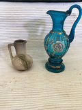 Fenton glass and Weller Pitchers