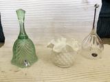 2 Fenton and 1 Bohemian glass pieces