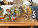 Group lot of collector glasses - Garfield, Loony Toons etc