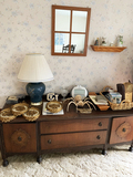 Buffet Cabinet, Contents On Top Of Cabinet, Decor Items
