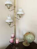 Globe, Pole Lamp, and Candle Sticks