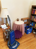 Kenmore vacuum, 2 side tables, book shelf, books and décor