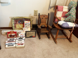 Mini Trains, Hot Wheel toys, and 2 Doll chairs