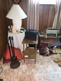 Typewriter, Lamp, CD's, 4 side tables Regulator clock