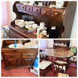 Young- Hinkle Plymouth Pine Collections Table, 6 Chairs, China Hutch and Dry Sink (NO CONTENTS INCLU