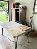 Vintage Table, Metal cabinet with string trimmer and blower, tools