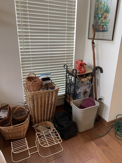Household items - baskets, iron log rack, walking stick, tools, trash can and more