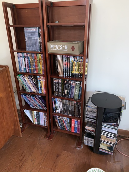 Large group of DVD's, Cd's and 2 shelves