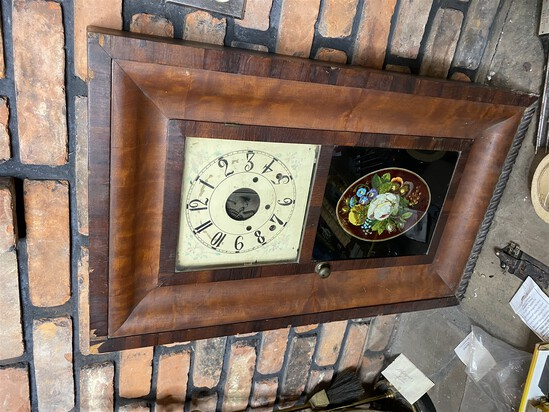 Antique 19th century clock with painted glass and dial