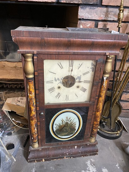 Antique 19th century clock with decorated glass