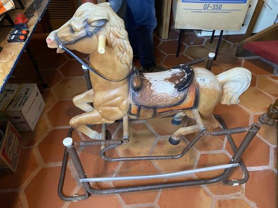 Vintage Plastic Ride on Horse on Metal Stand