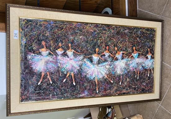 Vintage 1960s Painting of Ballet Dancers