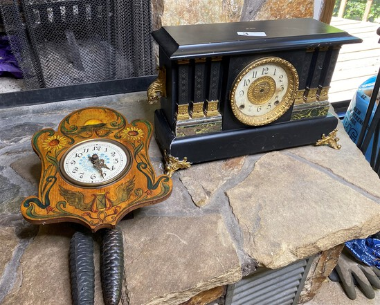 2 Antique clocks - Mantle and Wall
