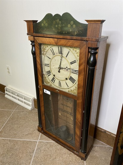 Antique Clock with Painted Decoration, Large dial