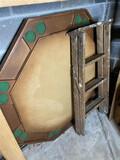 Vintage poker table, wooden step ladder