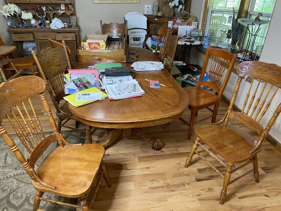 Vintage Oak Table and 8 Chairs