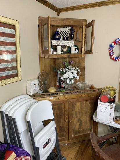 Vintage wooden primitive corner cabinet