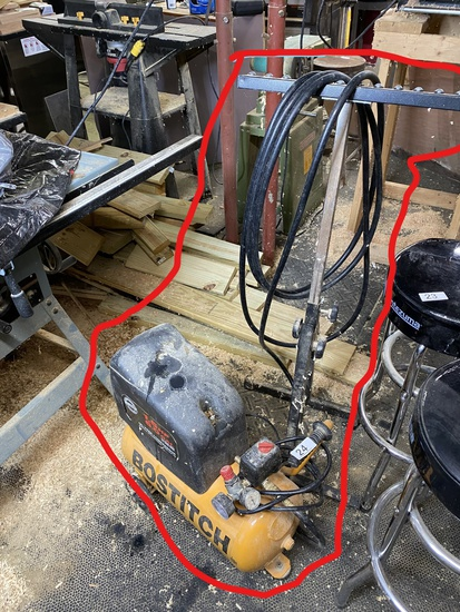 Bostitch Air Compressor, Hose, wood feeder