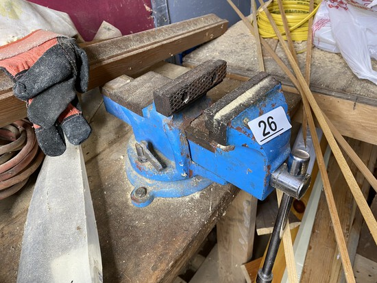 Vintage Larger Blue Painted Vice