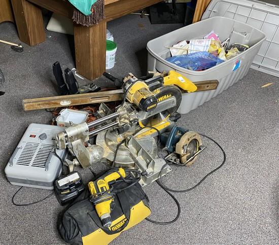 Tools lot including DeWalt Sliding Compound Miter Saw