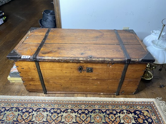 Nice Early Antique Wooden Chest with Forged straps