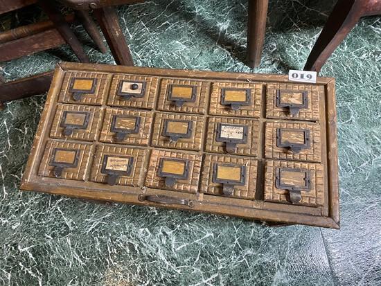 Unusual Antique Chip Carved Folk Art Card Catalog