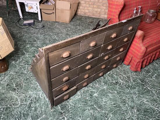 Unusual Antique Sorter Bin Unit w/20 drawers