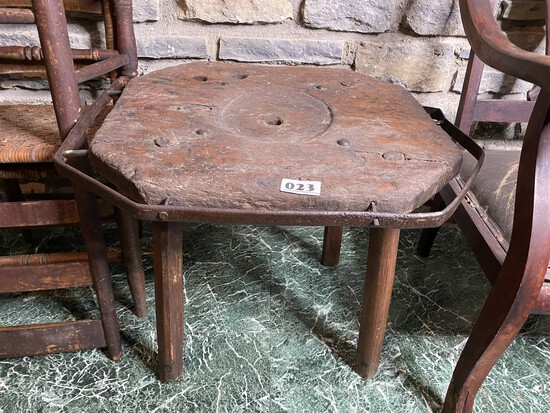 Unusual Primitive Wooden Bench with Wrought Iron rails