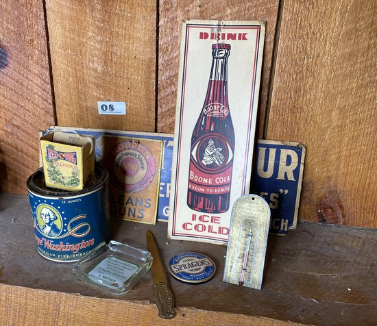 Group lot of assorted antique advertising items, tins