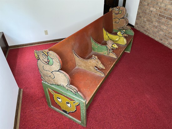 Antique c. 1920 Painted Circus or Carnival Children's bench