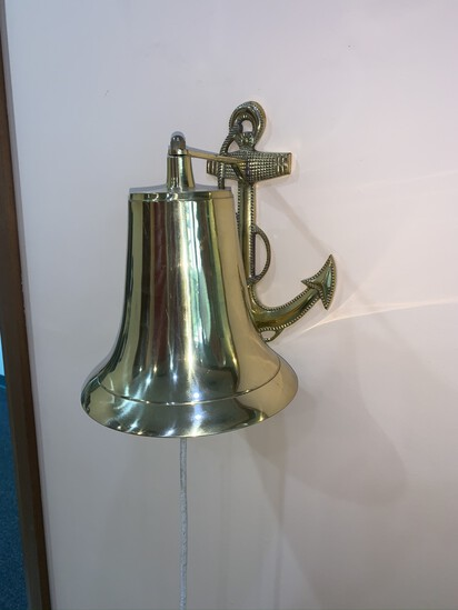 "Brass Bell with Anchor Wall Mount.  8"" Tall"