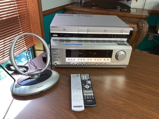 Onkyo AV Receiver HT-R430, Sony DVD / VHS Player model 0308356.  Remotes and Antenna.