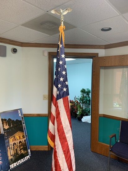 American Flag on Brass Stand,  8' Tall.  Flag Measures 3' x 5'