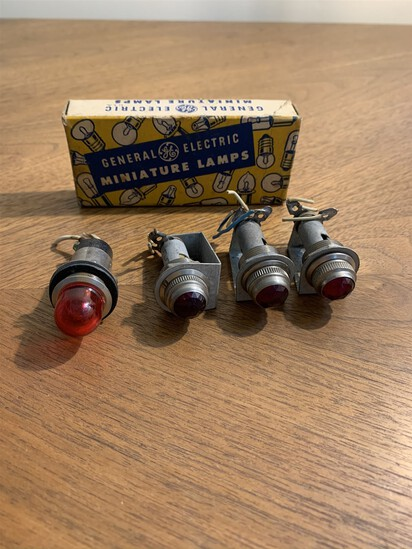 Vintage License Plate Glass Lenses Tail Lights and General Electric Miniature Lamps