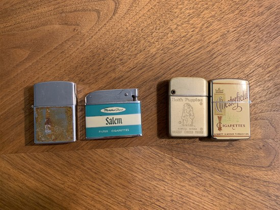 Assortment of Lighters by Royallite Chesterfield, Hush Puppies, Storm Master, Zenith and Memory