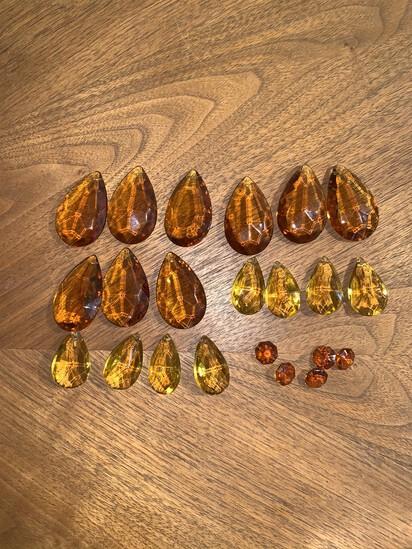 22 Amber Crystal Glass Pendants.
