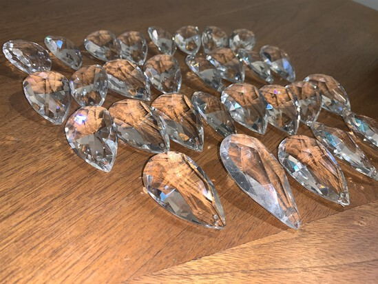 "29 Clear Crystal Glass Pendants. Measure 2"""