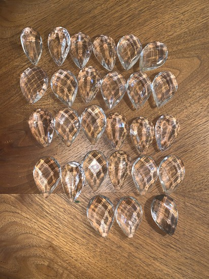 """27 Clear Crystal Glass Pendants. Measures 2"""""""