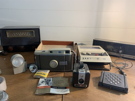 Lot of old radios and cameras