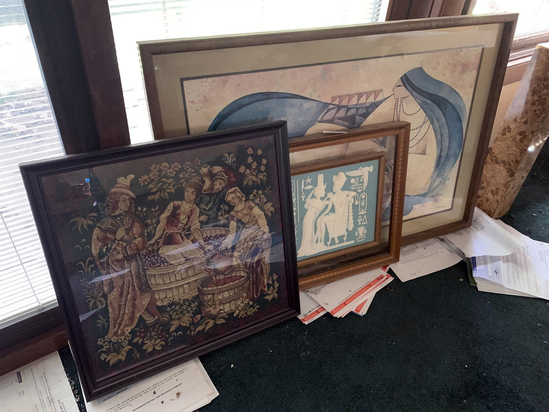 (3) Frames - Pharaoh and his Queen, Needle Point, and Pharaoh Prints