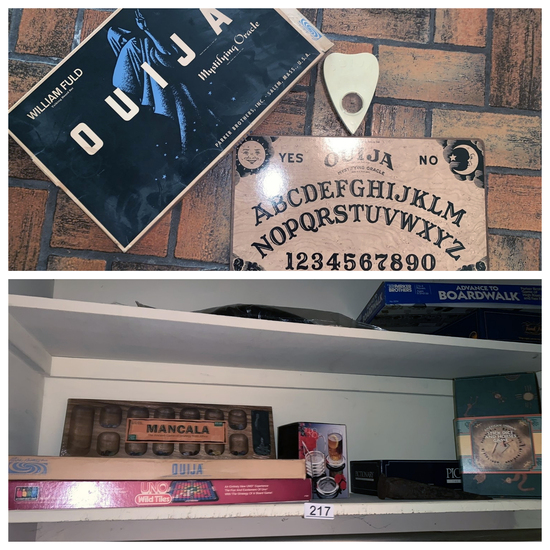 "Contents of ""Entryway Closet"" - Vintage ouija board etc."