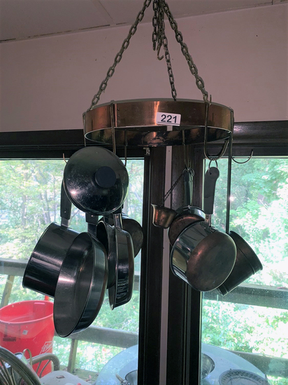 "Revere Ware Copper Bottom Pots and Copper Hanging Pot Rack 16"" Circumference"