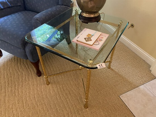 Polished brass lamp table with heavy glass top