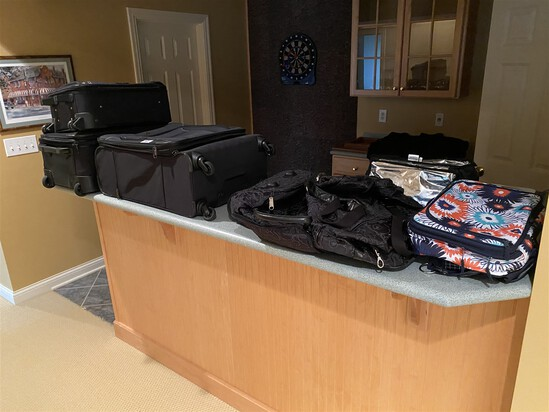 Group lot of assorted luggage