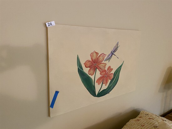 Painting over bed - Dragonfly and Flowers
