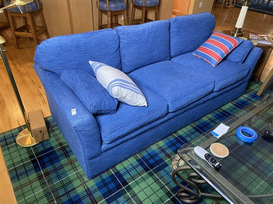 Nice blue upholstered couch