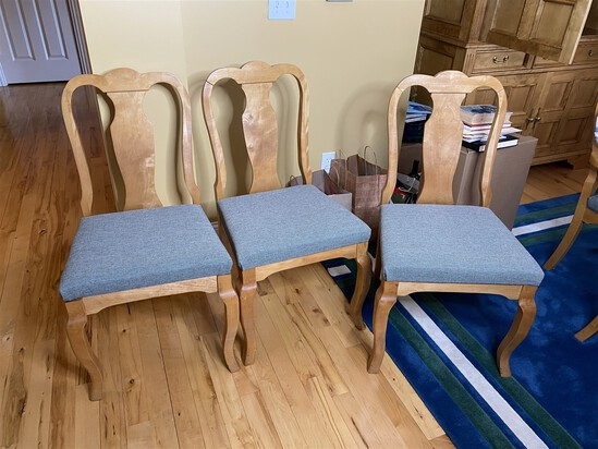 3 custom made maple dining chairs