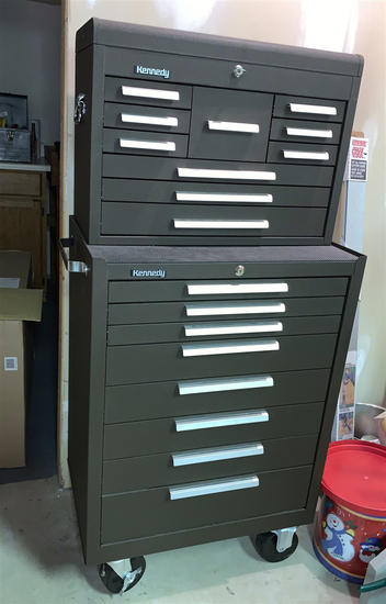 GREAT CONDITION! Kennedy Double Stack Toolbox with Key and Drawer Liners.